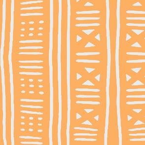 Apricot and white woven stripe