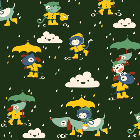 I'ts raining cats and dogs... in wellies! fabric by verycherry on Spoonflower - custom fabric