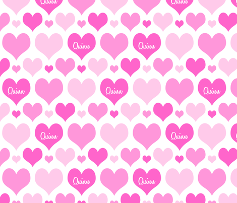 Personalised Heart Design - Pinks fabric by shelleymade on Spoonflower - custom fabric