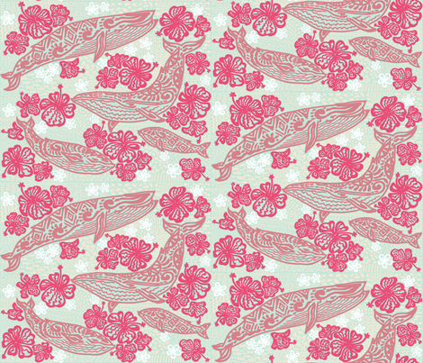 Aloha whales (reversed) fabric by helenpdesigns on Spoonflower - custom fabric