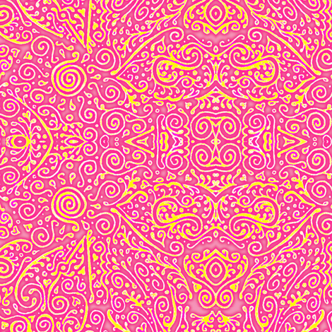 pink lemonade mendhi fabric by weavingmajor on Spoonflower - custom fabric