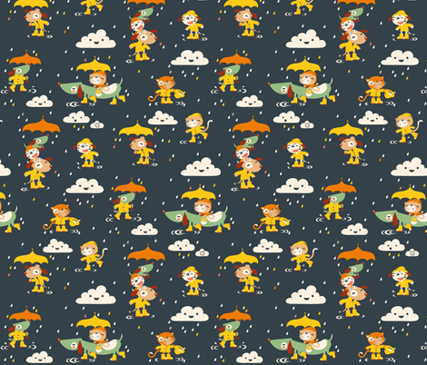 It's raining cats and dogs... in wellies... fabric by verycherry on Spoonflower - custom fabric