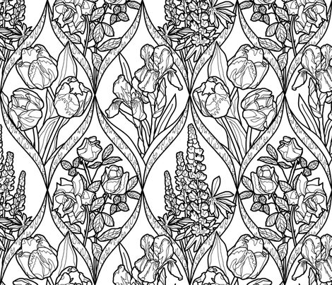 Framed Flowers black and white texture white off 2 fabric by khowardquilts on Spoonflower - custom fabric