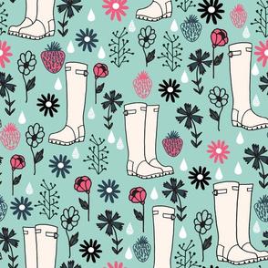 wellington boots // spring time wellies rain showers florals andrea lauren fabric
