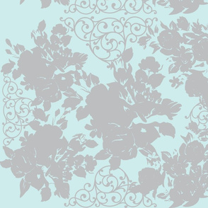 Garden Trellis Aqua and Gray Flowers