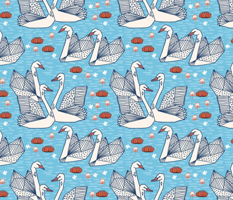 swans // geometric swans pastel blue pond water lily lilies girls sweet birds fabric by andrea_lauren on Spoonflower - custom fabric