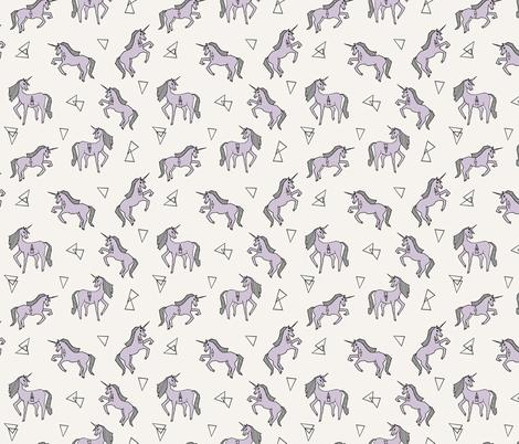 unicorn // girls unicorn purple pastel small mini lavender unicorn fabric print for girls fabric by andrea_lauren on Spoonflower - custom fabric
