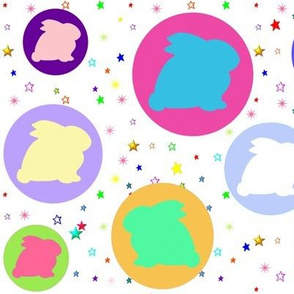 So Many Bunnies and Colorful Stars on White