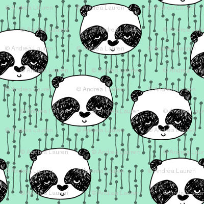 Panda Mint Bright Mint Panda Head Cute Scandi