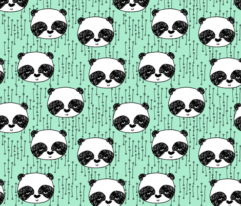 panda // mint bright mint panda head cute scandi illustrated panda face fabric by andrea_lauren on Spoonflower - custom fabric