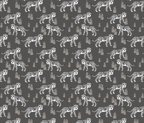 Safari Tiger - Charcoal (smaller) by Andrea Lauren fabric by andrea_lauren on Spoonflower - custom fabric