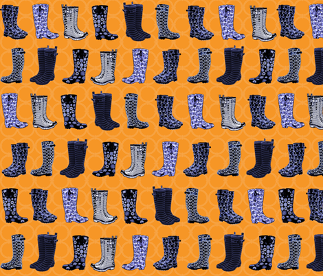 Blue Wellies fabric by poetryqn on Spoonflower - custom fabric
