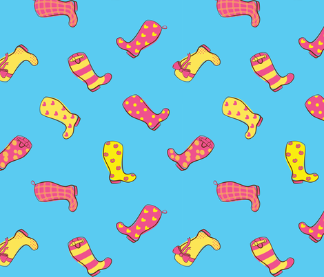 Cute Wellies Pink and Yellow fabric by mfirebaugh on Spoonflower - custom fabric
