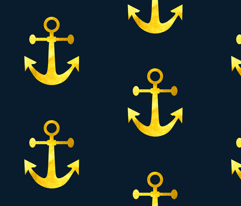 Anchors Aweigh in Gold Dust fabric by willowlanetextiles on Spoonflower - custom fabric