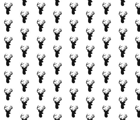Black Deer on Whtie fabric by modfox on Spoonflower - custom fabric
