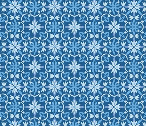 Flourishes_starflower_blue fabric by woolfolkdesignstudio on Spoonflower - custom fabric