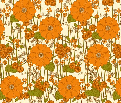 Garden orange fabric by lucy_elizabeth on Spoonflower - custom fabric