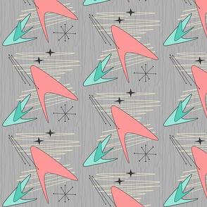 Atomic Boomerangs - Salmon & Green - on Grey -