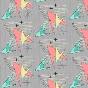 Atomic Boomerangs - Salmon Yellow & Green - on Grey -