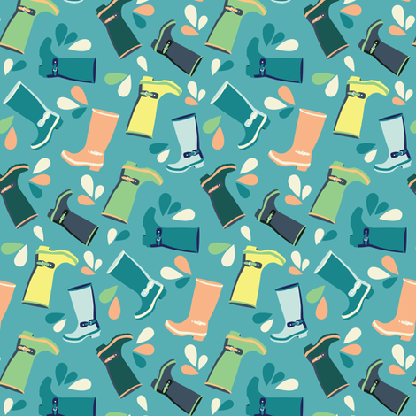 Happy wellies fabric by fossan on Spoonflower - custom fabric