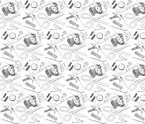 Broken Notions Clutter- B&W fabric by izzyisms on Spoonflower - custom fabric