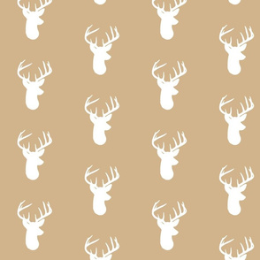 Deer Heads on Tan