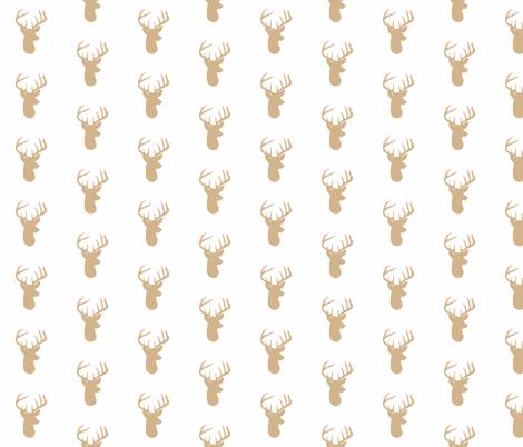 Tan Deer on White fabric by modfox on Spoonflower - custom fabric