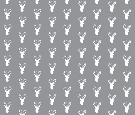 White Deer on Grey fabric by modfox on Spoonflower - custom fabric