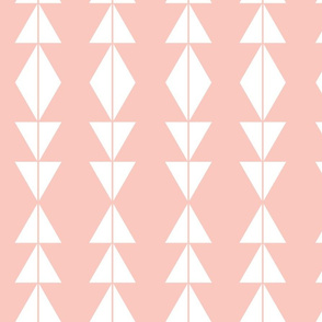 White Tribal Triangles on Blush