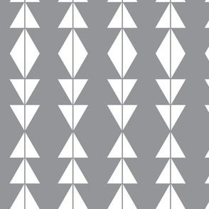 White Tribal Triangles on Grey