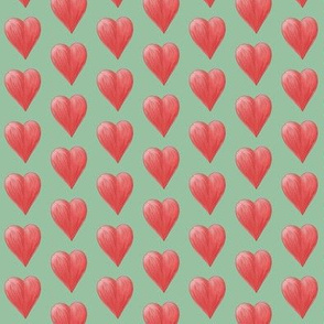 Watercolor Love Hearts on Green