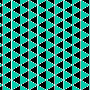 Triangle geometric, black and aqua
