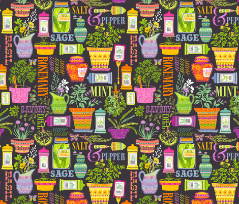 Organic Herbs and Spices: Gray fabric by sheri_mcculley on Spoonflower - custom fabric