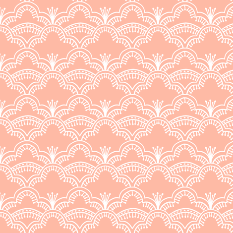 Scallop Lace Coral fabric by thistleandfox on Spoonflower - custom fabric
