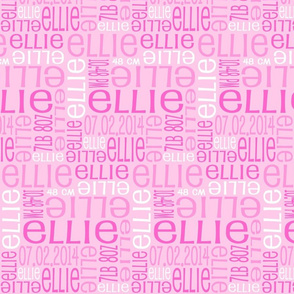 Personalised Birth Details - Pinks and White