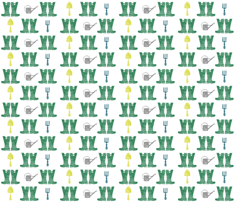 Wellies in the Garden fabric by the-silk-magpie on Spoonflower - custom fabric