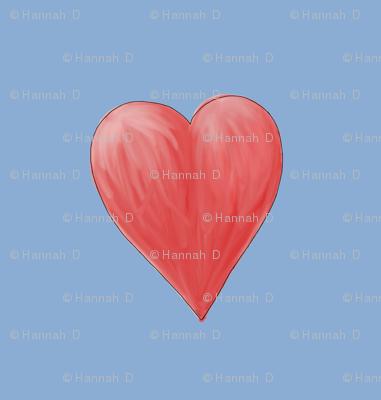 Watercolor Love Heart. Fat Quarter Design