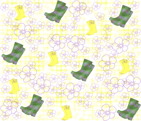 wellies in the spring fabric by marciaurila on Spoonflower - custom fabric