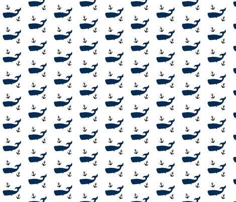 Navy Whales and Black Anchors fabric by modfox on Spoonflower - custom fabric