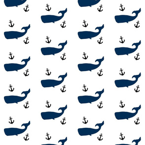 Navy Whales and Black Anchors