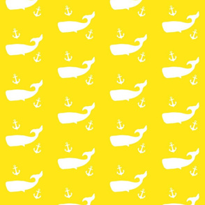 Whales and Anchors on Yellow