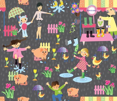botas_en_la_lluvia-1-01 fabric by maribel on Spoonflower - custom fabric