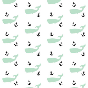 Mint Whales with Black Anchors