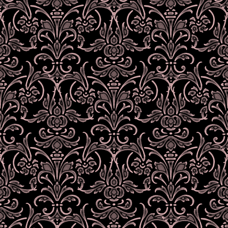 Dauphine on Black Damask ~ Chalk on Canvas fabric by peacoquettedesigns on Spoonflower - custom fabric