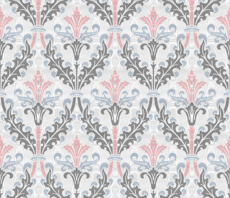 The Damask Divine ~ Dauphine, Versailles Blue and Pewter ~ Moire  fabric by peacoquettedesigns on Spoonflower - custom fabric