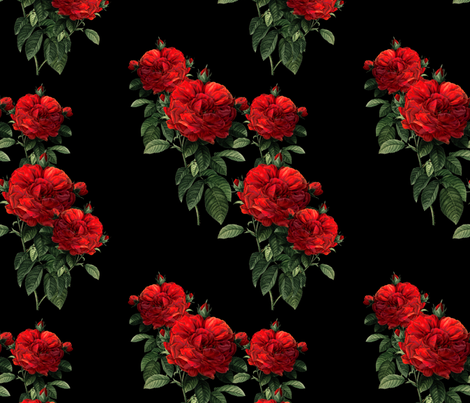Redoute' Roses ~ Riot of Red ~Jumble ~ Blackmail fabric by peacoquettedesigns on Spoonflower - custom fabric