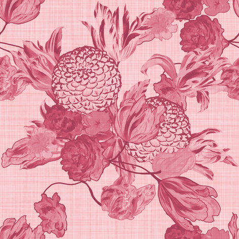 Mid Century Modern Floral ~Berry and Dauphine ~ Linen fabric by peacoquettedesigns on Spoonflower - custom fabric