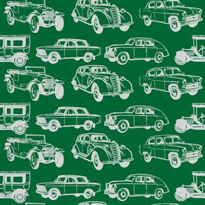 Vintage Cars Mixed Grey On Green
