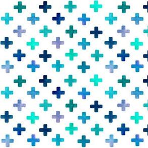 Blue Cross Pattern on white
