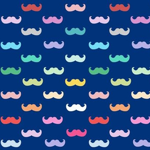 Navy Blue Rainbow mustaches